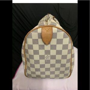 LV Speedy Boston Bag White Canvas Damier Azur Dr